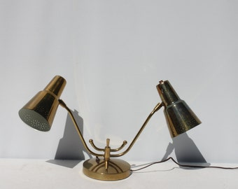 Vintage Lamp Mid Century Modern Double Metal Cone Atomic Industrial Desk Bedside Lamp