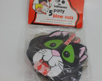 Vintage Halloween Favors Blow Outs Black Cats In Original Unopened Package Fun World NOS Halloween Party Spooky Decor