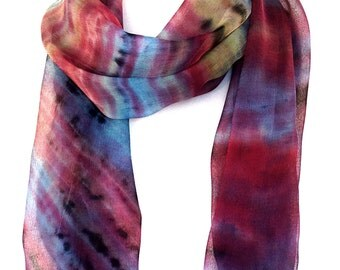Color scarf Hand painted silk Stripe scarf Chiffon scarf Gift for women Delicate scarf Lady scarf Indian scarves Silk scarf Canadian sellers