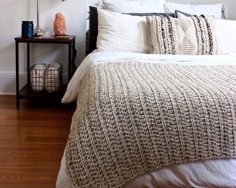 Chunky Knit Crochet Wool Throw Blanket Afghan // THE PENOBSCOT - OATMEAL