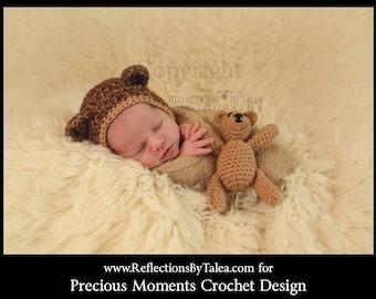 Teddy Bear Toy and Newborn Bear Hat - Newborn Photo Prop, Bear Bonnet, Crochet Teddy Bear, Brown Bear Bonnet, Hat and Stuffed Toy