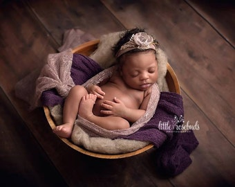 Newborn Tieback, Baby Tieback, Newborn Headband, Newborn Photo Prop, Taupe Flowers, Organic Halo, Lace, Tie Back, Vintage Headband, Halo