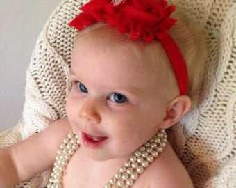 Red shabby headband or clip