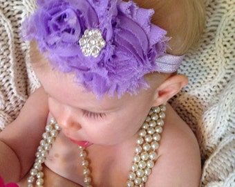 Lavender Shabby Headband or clip for infant baby or toddler rhinestone