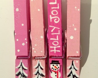 PINK CHRISTMAS CLOTHESPINS hand painted snowman holly jolly magnet