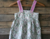 Vintage Pink & Green Floral Dress with Little Girls and Pink Gingham