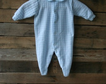 Vintage Blue & White Gingham Footed Romper Size Medium
