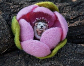 Pink needle felted flower with a hedgehog inside needle felted hedhehog miniature soft sculpture