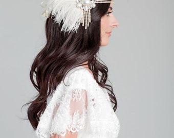 Flapper Headpiece, Vintage Inspired, Bridal Headband, The Great Gatsby, 1920s, 1930s, Party, Roaring 20's, Gold, Ivory, Pearl, Feather 110