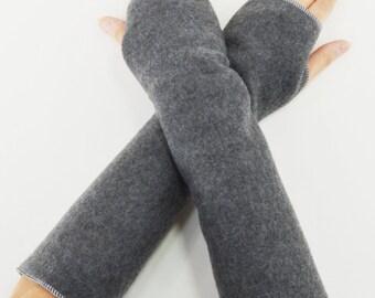 Fingerless Hand Arm Warmers Fleece Dark Grey Gray