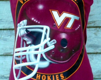 VIRGINIA Tech HOKIES VT football maroon/ orange strapless  tube top upcycled repurposed T Shirt s