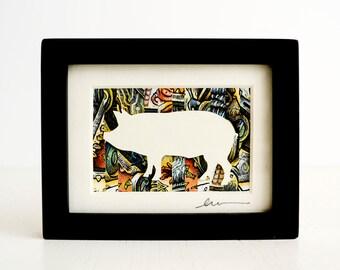 Pig Collage - Miniature Original Paper Cut Art
