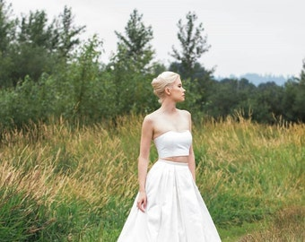 Two Piece Crop Top Wedding Dress, Crop Corset and Skirt, PIPER, Silk Taffeta
