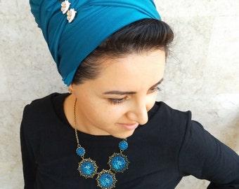 headscarf, long rectangular scarf, head wrap, head scarves, Lycra hair scarf, hair wrap by oshratDesignz