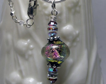 Magical Basha Bead Necklace - Hand Forged Sterling Silver Ring - Basha Bead, Pearls, Ribbons & Chain - Ready to Ship