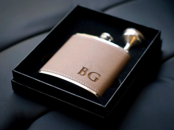 Groomsmen Gift Personalized Flask Leather By