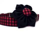 Buffalo Plaid Dog Collar & Flower, Dog Collar Flower, Red Dog Collar, Girl Dog Collar, Plaid Dog Collar, Collar flower, Plaid Collar Flower