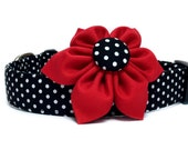 Dog Collar with Flower, Red Black Dog Collar, Polka Dot Dog Collar, Red Flower Collar, Dog Collar Flower, Girl Dog Collar, Red Black Collar