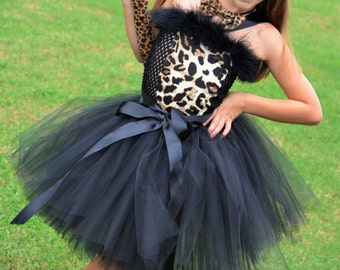 Couture Leopard Costume-Tutu Dress- Cat Costume- Couture Costume- Over the top-Birthday , Halloween Costume , Cheetah Costume-