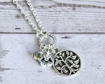 charm necklace, silver necklace, tree of life necklace, gift for her, bridesmaid gift