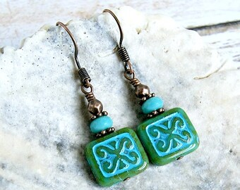 turquoise jade czech beaded drop earrings, copper, french hook, dangle, boho, bohemian, rustic