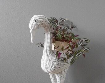 vintage large whimsical white wicker bird planter basket / plant stand / baby decor / flamingo