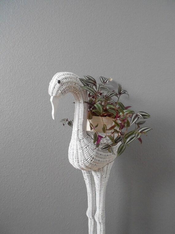 vintage large whimsical white wicker bird planter basket