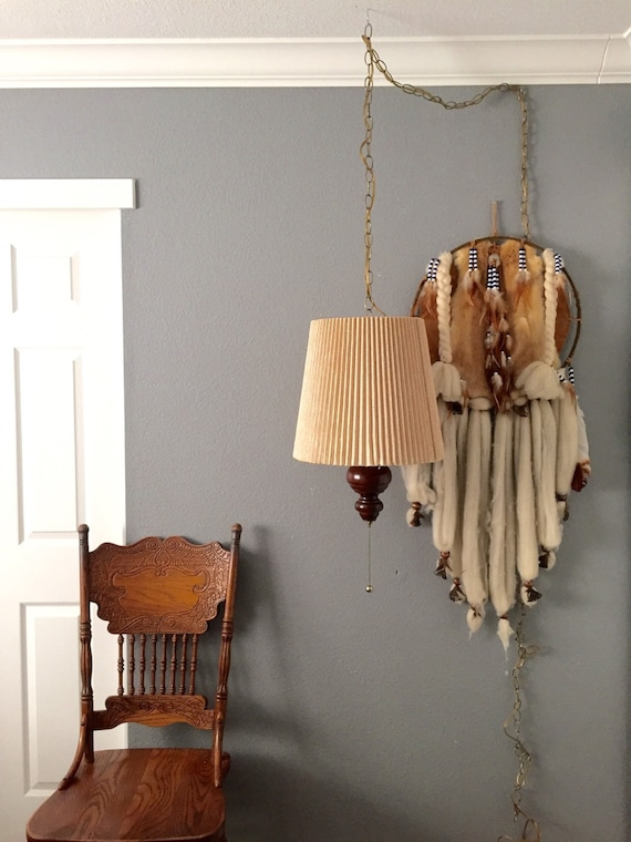 vintage mid century hanging wood lamp fixture with shade