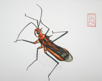 ACEO Red Bull Assassin Bug - Archival Print Watercolor Insect Art