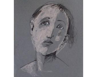 Face on Grey woman original pastel portrait figurative people small