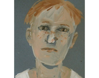 Boy face painting original portrait small figurative people ginger