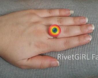 Rainbow Striped Circle Adjustable Ribbon Ring by RivetGiRL Falls
