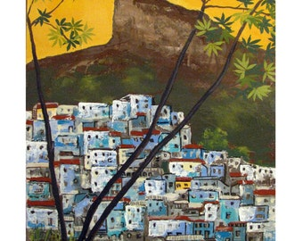 The Blue Favela and Corcovado,Rio de Janeiro Brazil Christ the reedemer, Original artist print Wall Art, Free Shipping in USA