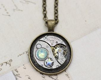"Steampunk Necklace OOAK Pacific Opal Necklace Star Necklace  Unique Necklace 24"" Repurposed Watch Piece Antique Brass"