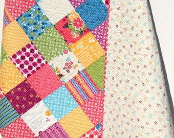 SALE LAST ONE Girl Baby Quilt Bedding Crib Nursery Yellow Pink Blue Green Gray Cottage Chic Patchwork Blanket Child Rose Flowers Meadowbloom