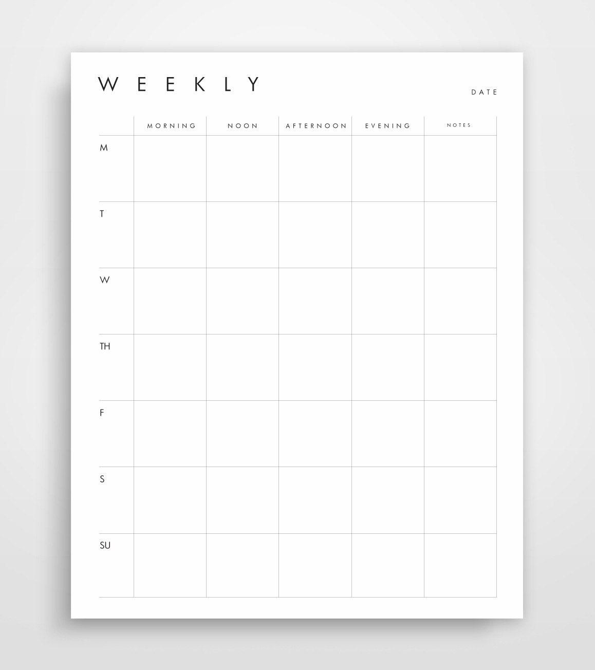 Weekly Agenda Week Schedule Printable Planner Weekly