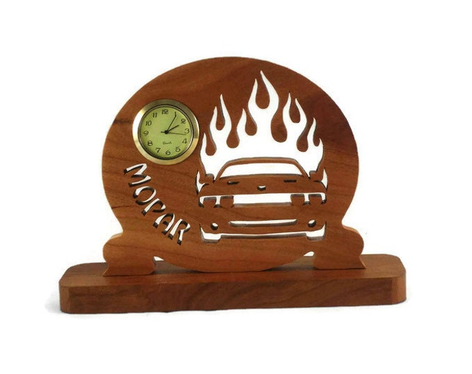 Dodge Challenger Desk Clock Handmade From Cherry Wood Mopar, Muscle Car, Hemi, SRT-8 Challenger, Helcat