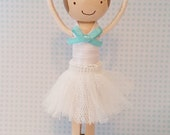 Claire Ballerina Miniature Wooden Clothespin Doll