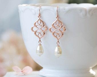 Rose Gold Celtic Knot Earrings Pink Rose Eternity Filigree Swarovski Teardrop Pearl Dangle Earrings Pink Rose Pink Gold Bridal Earring