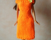 """Handmade 11.5"""" Fashion Doll Clothes. Orange knitted dress with bow trim."""