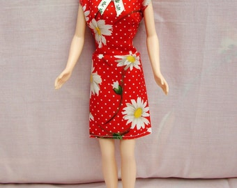 "Handmade 11.5"" Fashion Doll Clothes. Straight skirt daisy print dress."