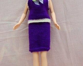 "Handmade 11.5"" Fashion Doll Clothes. Purple and cream hand knitted skirt and top."