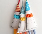 Tree decoration - or fabric gift tags Set of 3 holiday decor dwarf in pointy hat , Christmas Tree Ornament in Orange Pale Blue yellow