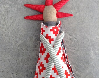 Plushie Softie doll , Handmade fabric doll , decor doll , stuffed  doll , huggable soft doll , eco plush toys , modern rag doll , red mint