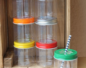 Plastic Mason Jars with Lids, 14 8OZ  Plastic Mason Jar Cups, Mason Jar Tumblers, Mason Jar Favors, Wedding Favors, Baby Shower Favors USA