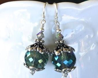 Blue Green Crystal Earrings in Silver