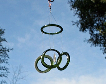 olive green glass wind chime mobile from recycled upcycled bottles