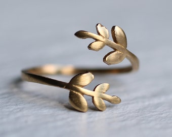 Leaf Twig Ring ... Vintage Midi Brass Adjustable Flower Ring