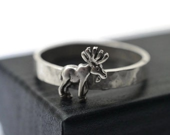 Sterling Silver Moose Ring, Silver Elk Ring, Animal Jewelry, Engraved Ring, Customized Ring, Wildlife Ring, Moose Jewelry