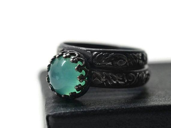 Peruvian Blue Opal Wedding Set Engagement Ring Renaissance Style Bridal Set